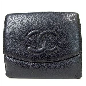 Auth CHANEL Caviar Skin Small Wallet